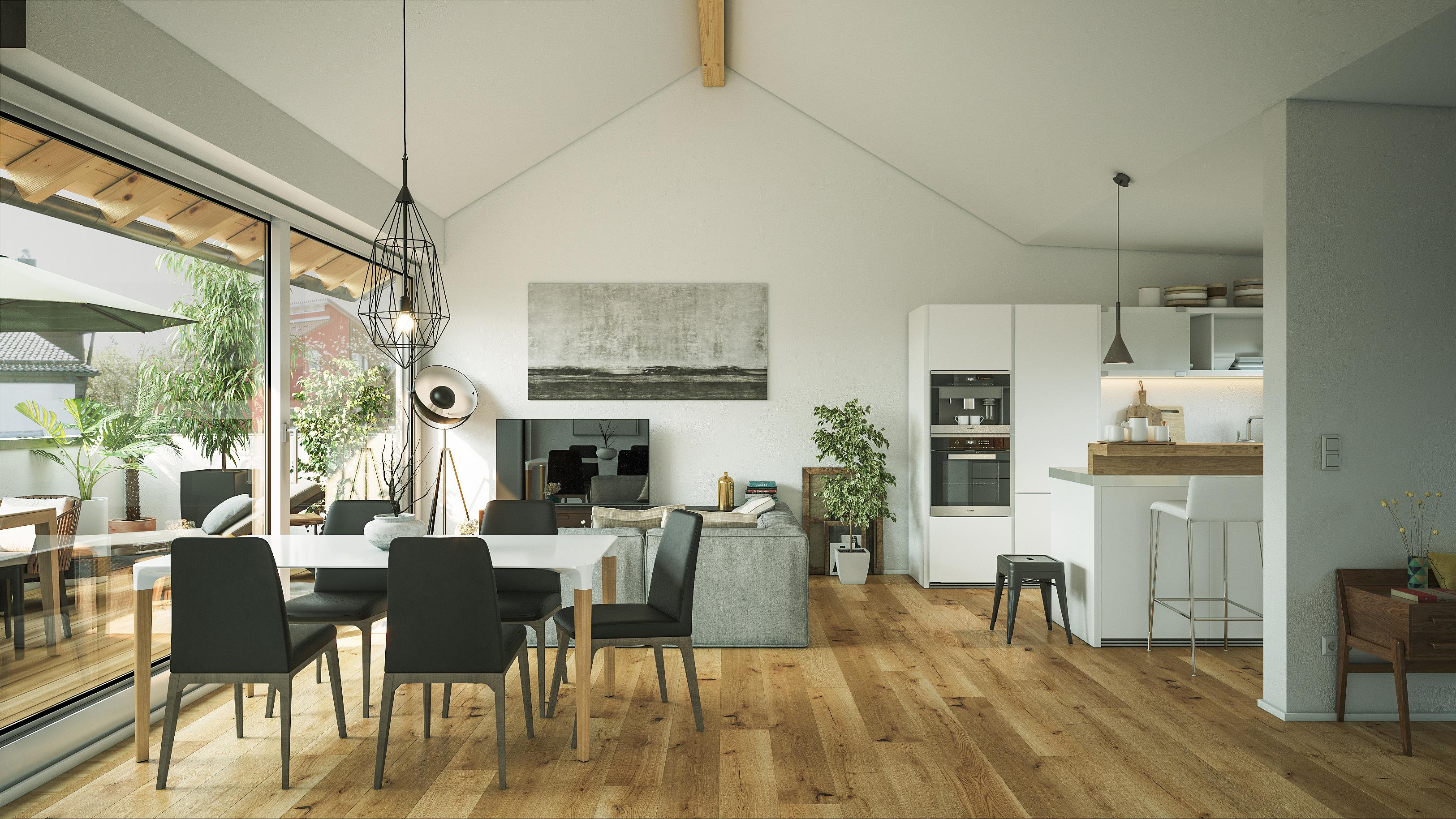 Moderner Wohn-Essbereich mit Eiche Parkett
