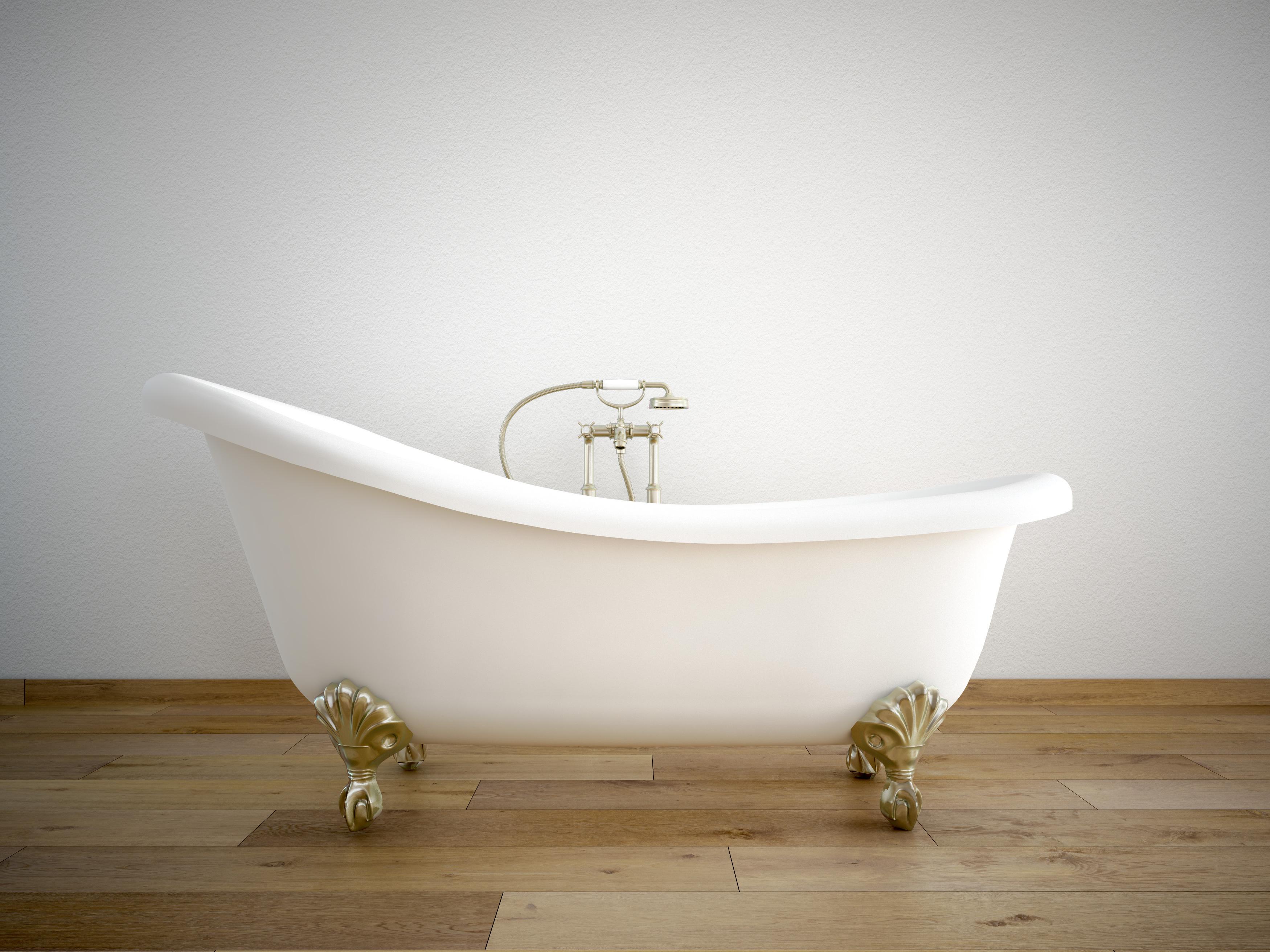 Badewanne auf Parkett Landhausdielen