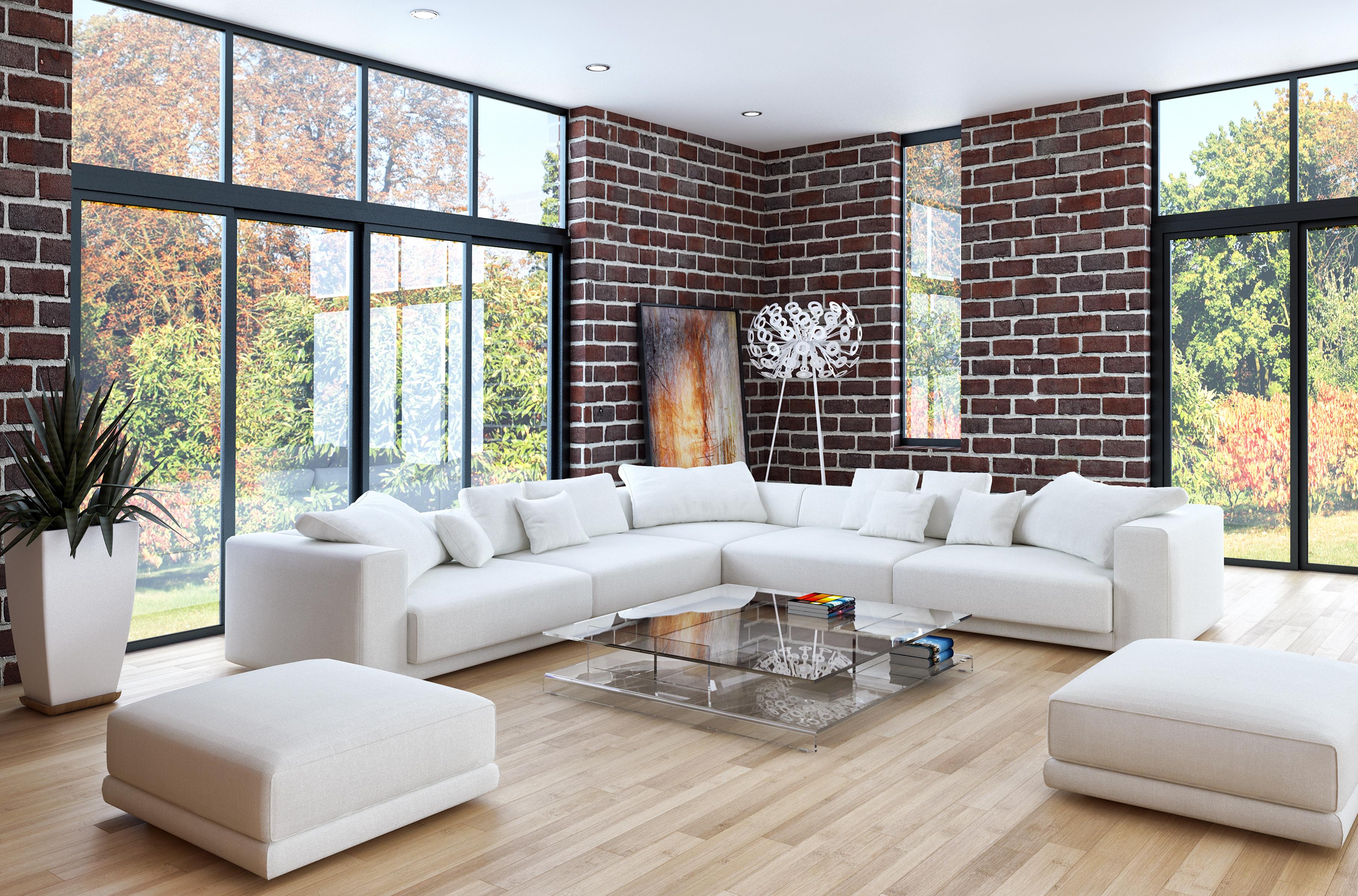 Wohnzimmer mit hellem Sofa