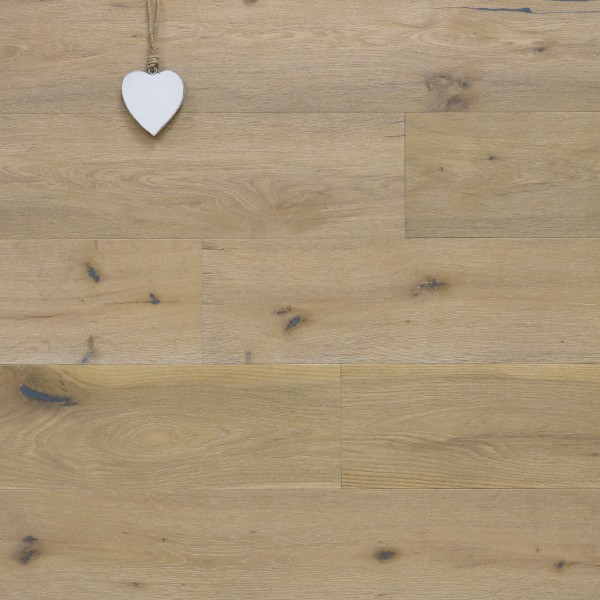 Eiche Landhausdiele Westminster-Antikdiele S aus der Serie Vintage, Markant, angeräuchert, gebürstet, mit einem Naturöl weiß geölt, 14 x 189 x 1860 mm, Drop Down Klick Verbindung