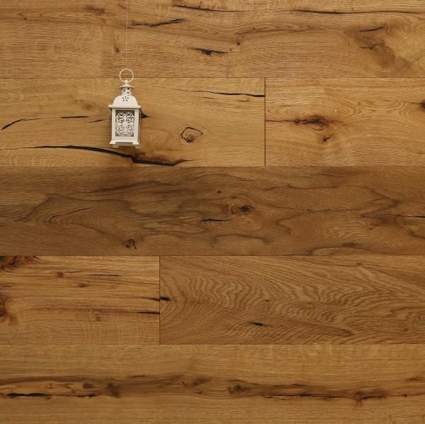 Restposten, Landhausdiele Eiche Schönberg aus der Serie Classic (29,90€/m²), Rustikal, gebürstet, geölt, 14 x 190 x 1900 mm, Parkettboden, Drop Down Klick Verbindung