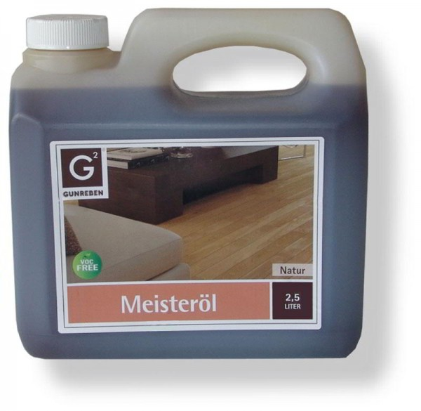 Gunreben Meisteröl natur, Kanister mit 2,5 Liter, zur Grundbehandlung von Holzböden