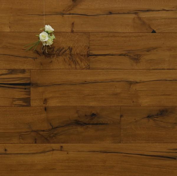 Parkett Landhausdiele Eiche Schubert aus der Serie Classic, Rustikal, handgehobelt, angeräuchert, mit einem Naturöl geölt, 14 x 190 x 1900 mm, Drop Down Klick Verbindung