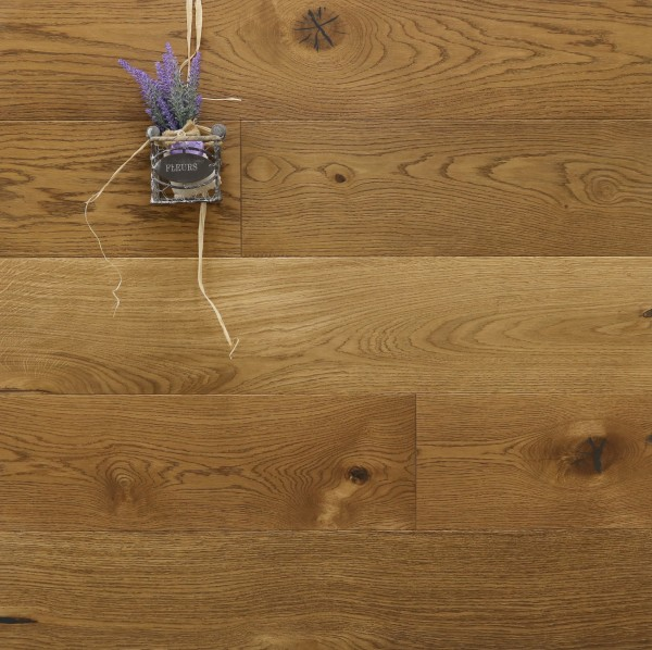 Parkett Landhausdiele Eiche Menton aus der Serie Provence, gebürstet, mit WOCA Naturöl im Farbton Deserto geölt, 14 x 190 (220) x 1900 (2200) mm, Välinge 5G Klick Verbindung, Sonderanfertigung nach Kundenwunsch
