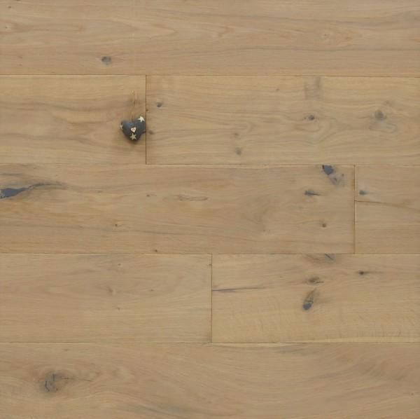 Eiche Landhausdiele Groovy aus der Serie Slim, Rustikal, mit einem Naturöl weiß geölt, 10 x 190 x 1900 mm, Dielen, Nut / Feder Verbindung