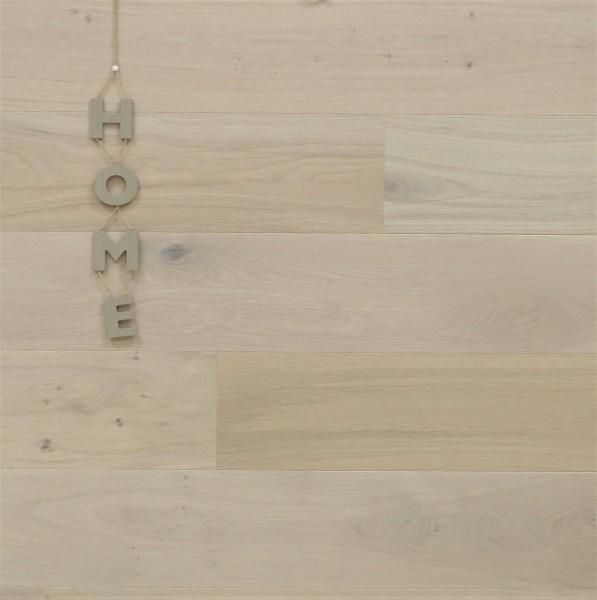 Parkett Landhausdiele Eiche Dänemark, Markant, gebürstet, mit Masteröl weiß geölt, 14 x 180 x 1800 mm, Soft Lock Klick Verbindung