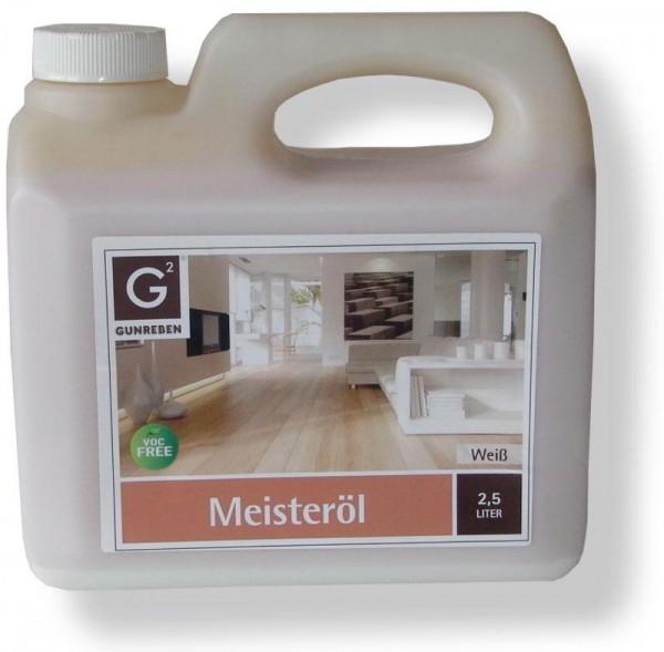 Gunreben Meisteröl weiß, Kanister mit 2,5 Liter, zur Grundbehandlung von Holzböden