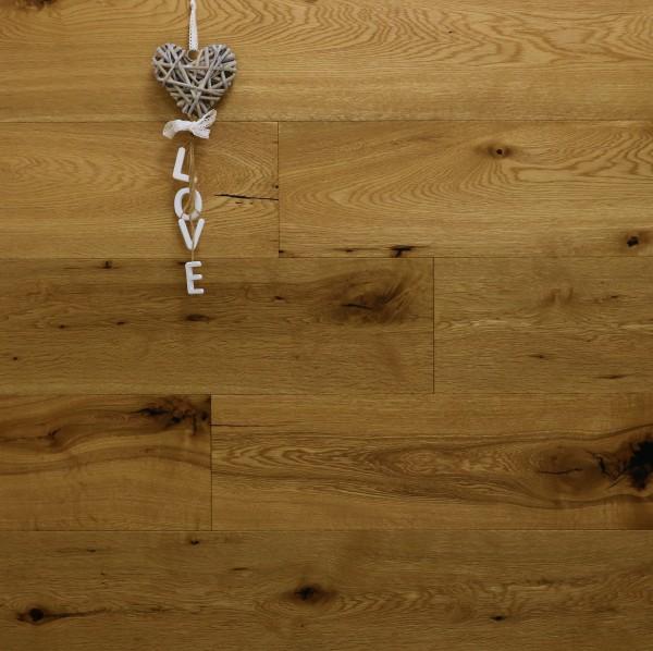 Parkett Landhausdiele Eiche Bellevue-Antikdiele S aus der Serie Vintage, Markant, angeräuchert, mit einem Naturöl geölt, 14 x 189 x 1860 mm, Drop Down Klick Verbindung