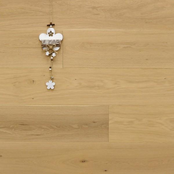 Parkett Landhausdiele Eiche Bella aus der Serie Italia, Natur, mit einem Naturöl leicht weiß geölt, 14 x 190 x 1900 mm, Drop Down Klick Verbindung, Sonderanfertigung nach Kundenwunsch