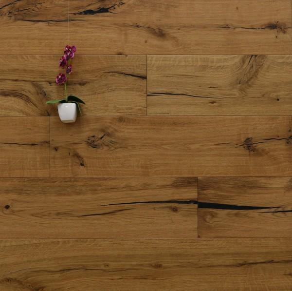 Restposten, Eiche Landhausdiele Beethoven aus der Serie Classic, Rustikal, mit einem Naturöl geölt, 14 x 190 x 1900 mm, Parkettboden, Drop Down Klick Verbindung