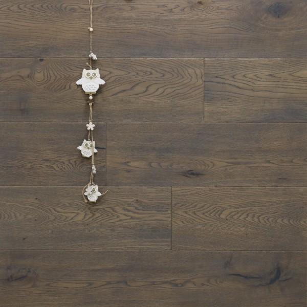 Parkett Landhausdiele Eiche Stonehenge aus der Serie Nostalgie, Markant, handgehobelt, angeräuchert, gebürstet, mit einem Naturöl grau geölt, 15 x 189 x 1860 mm, Drop Down Klick Verbindung
