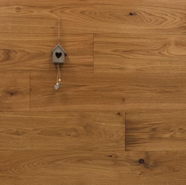 Parkett Landhausdiele Eiche Superb aus der Serie Slim, Rustikal, gebürstet, mit einem Naturöl geölt, 10 x 190 x 1900 mm, Nut / Feder Verbindung