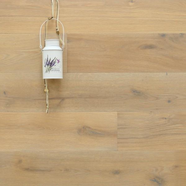 Parkett Landhausdiele Eiche Toulon aus der Serie Provence, gebürstet, mit Rubio Monocoat R331 weiß geölt, 14 x 190 (220) x 1900 (2200) mm, Välinge 5G Klick Verbindung, Sonderanfertigung nach Kundenwunsch