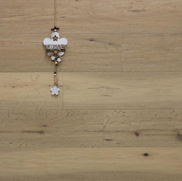 Parkett Landhausdiele Eiche Capitol-Antikdiele S aus der Serie Vintage, Markant, gebürstet, mit einem Naturöl weiß geölt, 14 x 189 x 1860 mm, Drop Down Klick Verbindung
