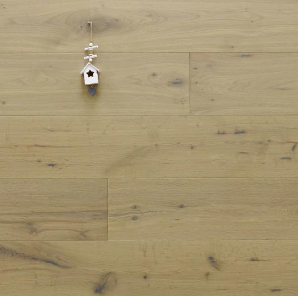 Eiche Landhausdiele Costa Blanca, Markant bis Rustikal, angeräuchert, gebürstet, mit einem Naturöl weiß geölt, 14 x 190 x 1900 mm, klassische Klick Verbindung