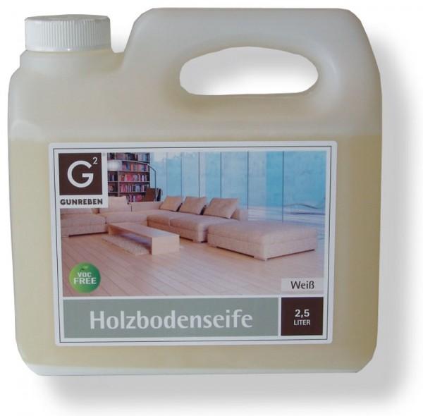Gunreben Holzbodenseife weiß, Kanister mit 2,5 Liter, zur regelmäßigen Reinigung weiß geölter Holzböden