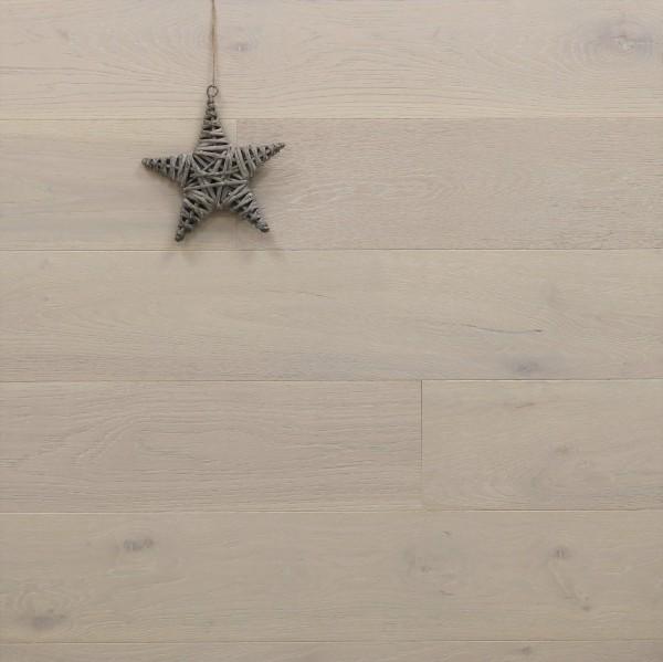 Parkett Landhausdiele Eiche Bacchus aus der Serie Vinum, Markant, gebürstet, gekalkt, supermatt weiß lackiert, 14 x 180 x 2200 mm, Soft Lock Klick Verbindung