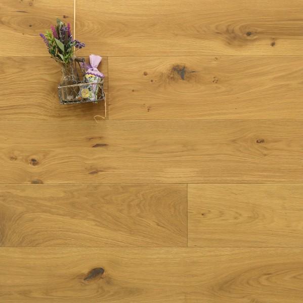 Parkett Landhausdiele Eiche Roussillon aus der Serie Provence, gebürstet, mit WOCA Naturöl im Farbton Sole geölt, 14 x 190 (220) x 1900 (2200) mm, Välinge 5G Klick Verbindung, Sonderanfertigung nach Kundenwunsch