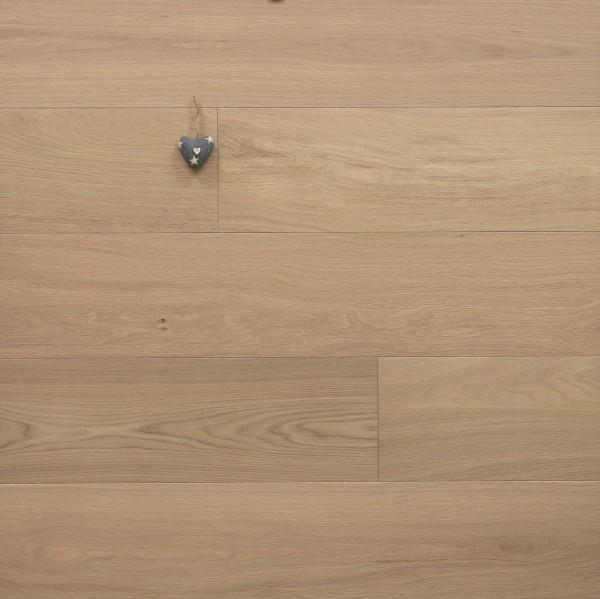 Parkett Landhausdiele Eiche Deluxe aus der Serie Villa, Select, gebürstet, mit Naturöl weiß geölt, 14 x 190 x 1900 mm, Drop Down Klick Verbindung, Sonderanfertigung