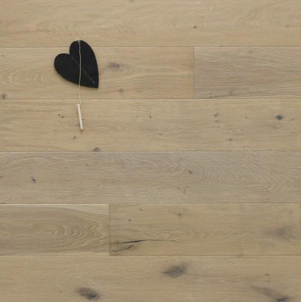 Parkett Landhausdiele Eiche Elfenbein, Markant, antik, gebürstet, gekalkt, weiß UV geölt, 14 x 155 x 2200 mm, Soft Lock Klick Verbindung