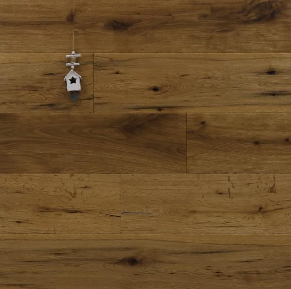 Eiche Landhausdiele Vesuv aus der Serie Mountain, Markant, angeräuchert, mit einem Naturöl geölt, 15 x 190 x 1900 mm, Drop Down Klick Verbindung