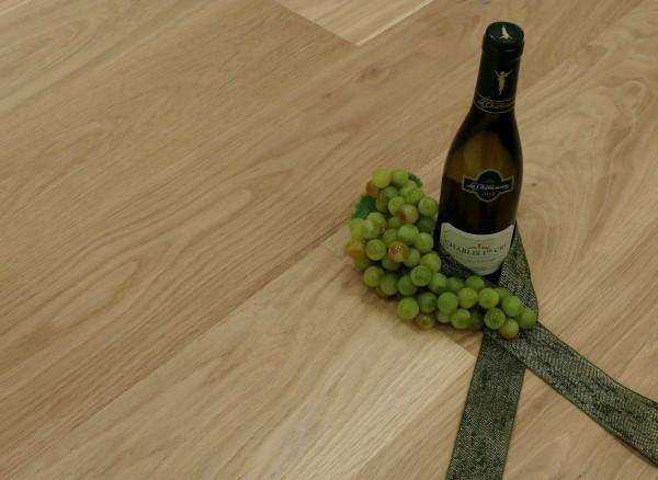 Parkett Landhausdiele Eiche Chablisien aus der Serie Vinum, Markant, gebürstet, noch unbehandelte Oberfläche, 14 x 180 x 2200 mm, Soft Lock Klick Verbindung