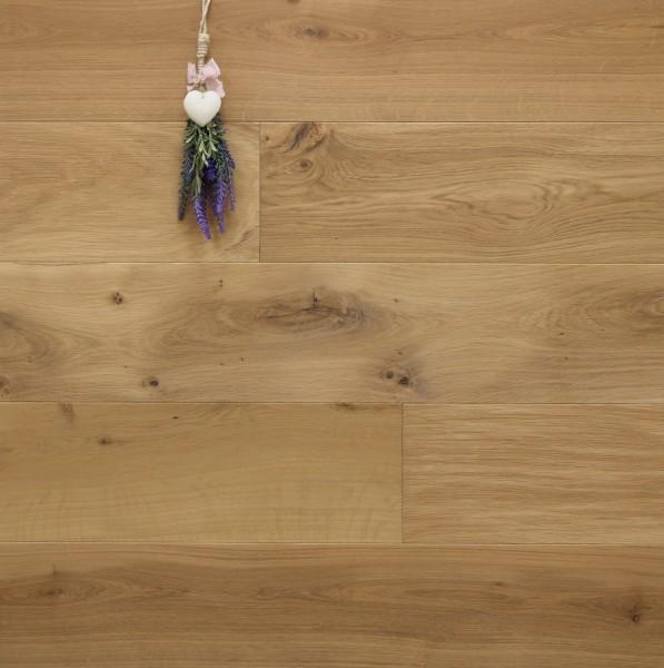 Eiche Landhausdiele Cassis aus der Serie Provence, mit WOCA Naturöl, mit nur 5% Weißanteil geölt, 14 x 190 (220) x 1900 (2200) mm, Välinge 5G Klick Verbindung, Sonderanfertigung nach Kundenwunsch
