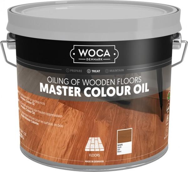 WOCA Meister Bodenöl Weiß, Kanister mit 2,5 Liter, zur Ersteinpflege geölter Holzböden