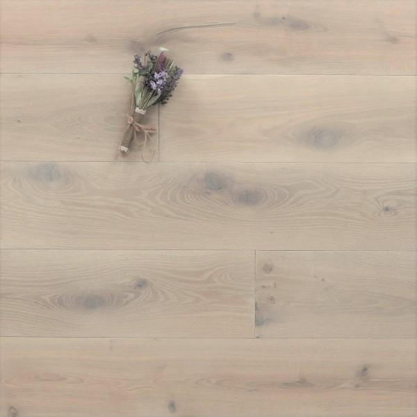 Parkett Landhausdiele Eiche Cher aus der Serie Provence, gebürstet, mit Rubio Monocoat R308 Cotton White geölt, 14 x 190 (220) x 1900 (2200) mm, Välinge 5G Klick Verbindung, Sonderanfertigung nach Kundenwunsch