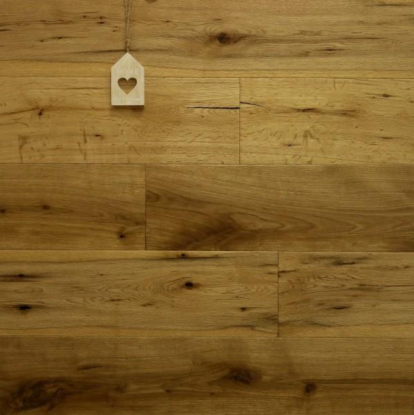 Parkett Landhausdiele Eiche Bellevue aus der Serie Nostalgie, Markant, handgehobelt, angeräuchert, mit einem Naturöl geölt, 15 x 189 x 1860 mm, Drop Down Klick Verbindung
