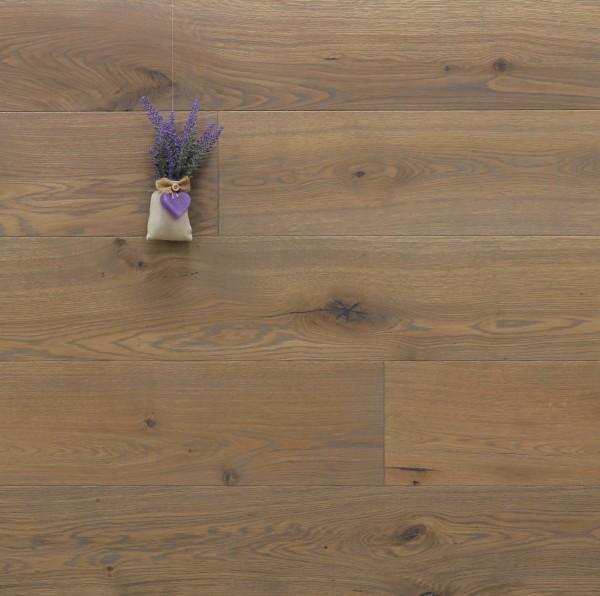 Parkett Landhausdiele Eiche Vaucluse aus der Serie Provence, gebürstet, mit Rubio Monocoat R310 Gris Belge geölt, 14 x 190 (220) x 1900 (2200) mm, Välinge 5G Klick Verbindung, Sonderanfertigung nach Kundenwunsch