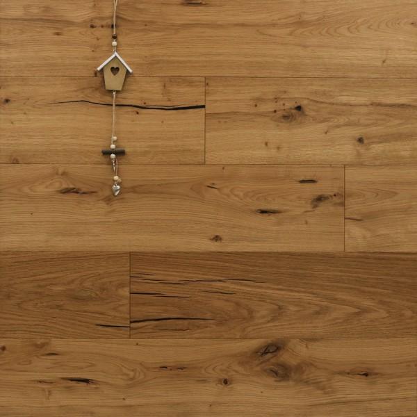 Parkett Landhausdiele Eiche Mega aus der Serie Slim, Rustikal, mit einem Naturöl geölt, 10 x 190 x 1900 mm, Dielen, Nut / Feder Verbindung