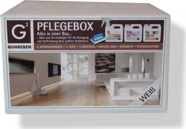 Gunreben Pflegebox weiß, Set mit je 1,0 Liter Intensivreiniger, Seife und Öl, Komplettpaket für weiß geölte Holzböden