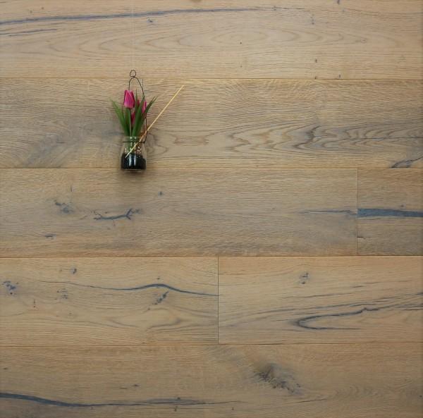 Eiche Landhausdiele Wagner aus der Serie Classic, Rustikal, gebürstet, mit einem Naturöl weiß geölt, 14 x 190 x 1900 mm, Parkettboden, Drop Down Klick Verbindung