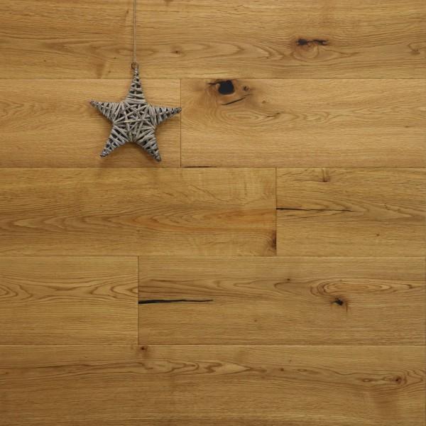 Parkett Dielen Eiche Watzmann aus der Serie Mountain, Markant, handgehobelt, mit einem Naturöl geölt, 15 x 190 x 1900 mm, Drop Down Klick Verbindung