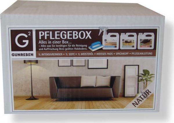 Gunreben Pflegebox natur, Set mit je 1,0 Liter Intensivreiniger, Seife und Öl, Komplettpaket für geölte Holzböden